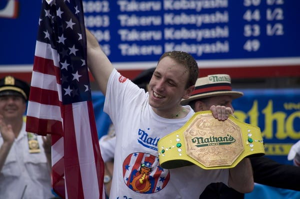 "Joey Chestnut wins"". By Yale Gurney Client: Nathan's 