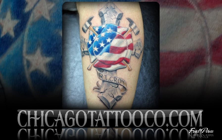 Fire fighter cross tattoo chicago tattoo co orlando fl for Tattoo shops in orlando fl