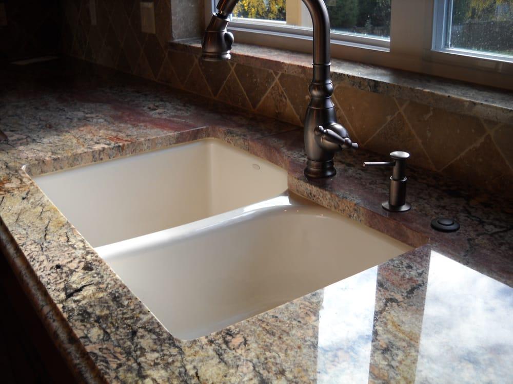stone slab install with undermount sink Yelp