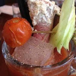 Meaty Mary: tomato juice, spices and roast beef jus, topped with a slice of beef dipped in horseradish. YUM.