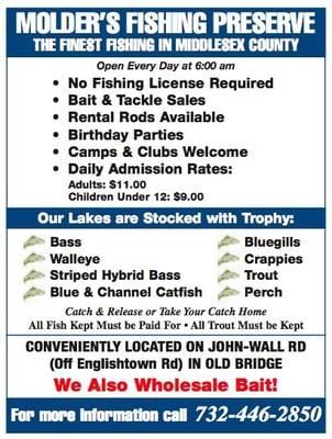 Molder s fishing preserve lakes jamesburg nj yelp for Where to get a fishing license near me