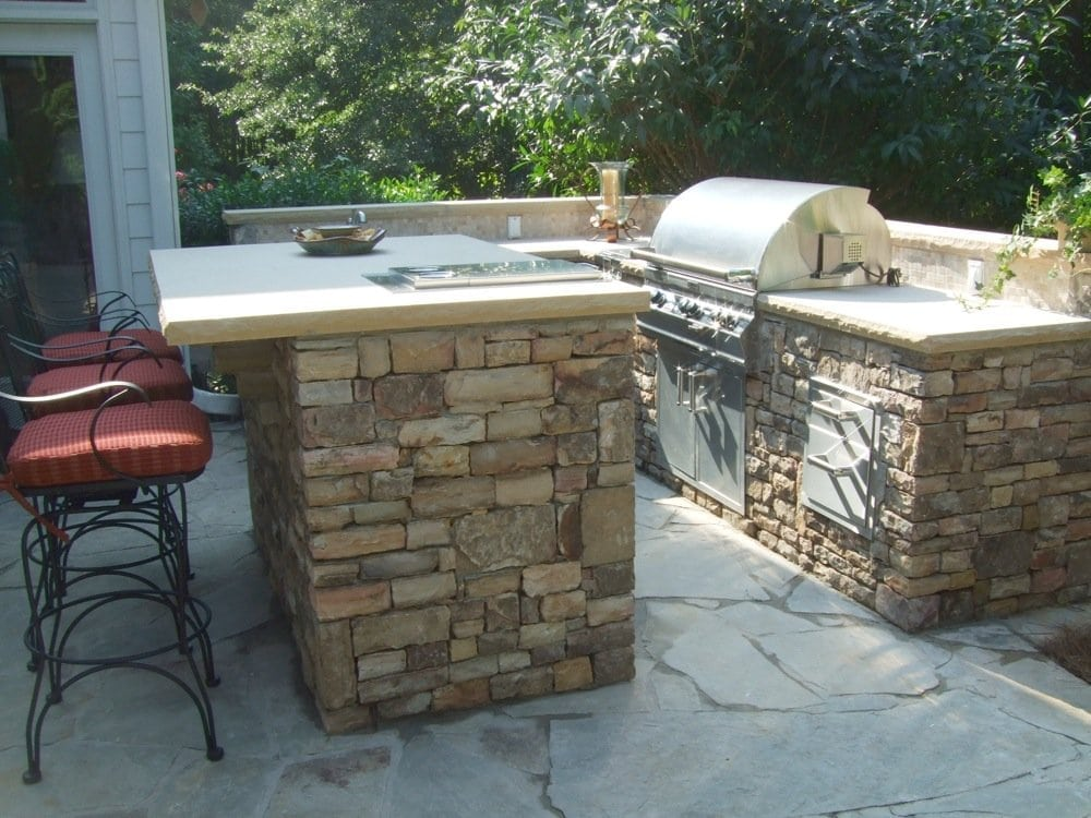 Stone Outdoor Kitchen : Natural Stacked Stone Outdoor Kitchen  Yelp