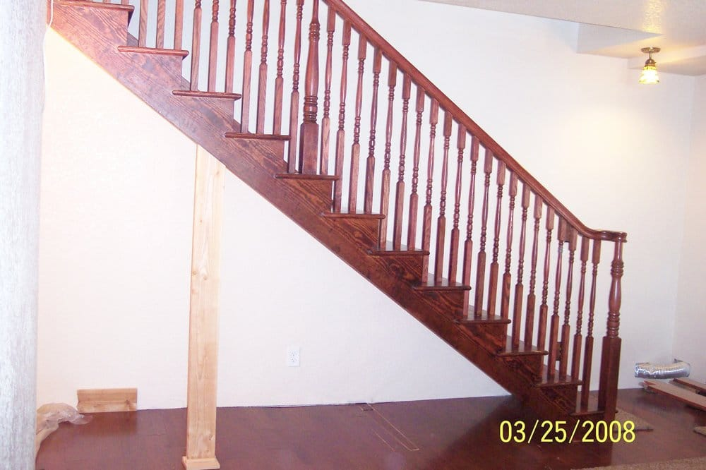 Stained Pine Stairs : Yellow pine stair with mahogany stain.  Yelp