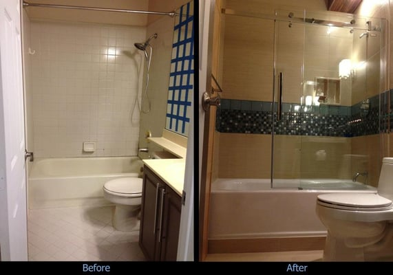 Before (with shower curtain rod) and after photos (with new shower