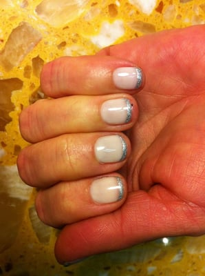 OPI Gel manicure: Glitter French tip by Ha.