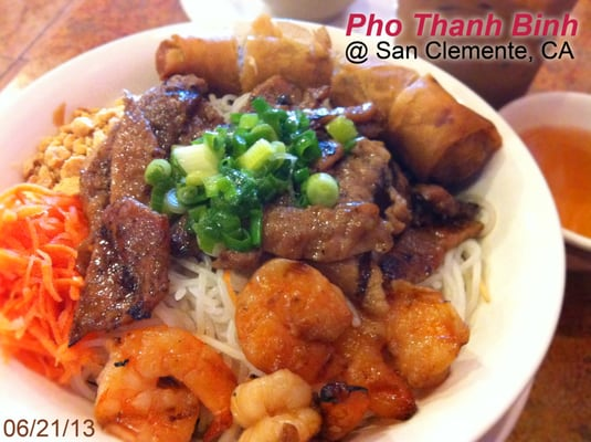 "Bun Tom Thit Heo Nuong Cha Gio - The ""#50"" (The Grilled Shrimp, Por..."
