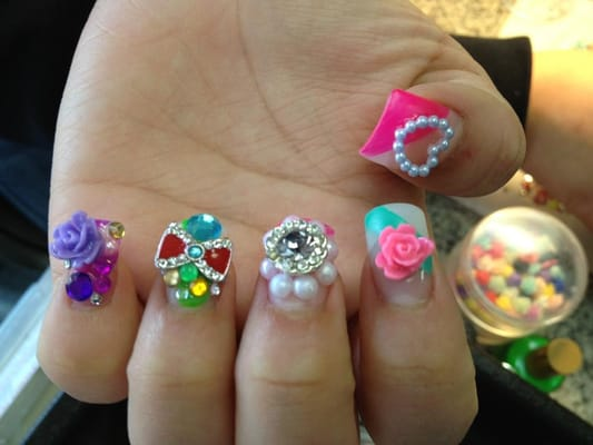 Japanese 3D Nail Art. Bows, Hello Kitty, Pearls, Rhinestones, Flowers