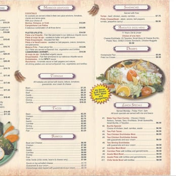 Menu as of Jan 2013