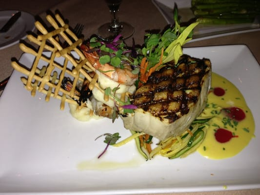 Chilean Sea Bass and shrimp with lemon butter and passion fruit sauce ...