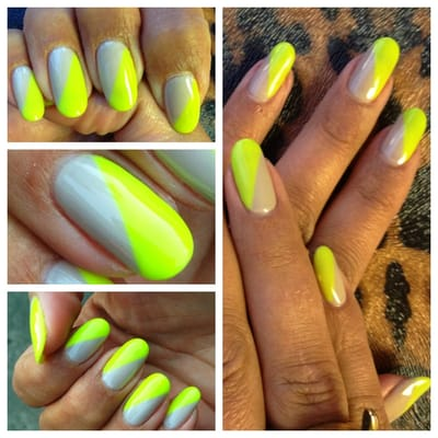 Neon + Neutral Nails. Gel polish manicure. Thank you! :)