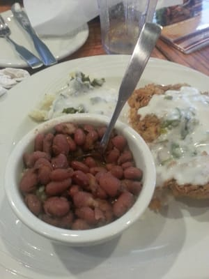 Chicken fried steak w/ jalapeno gravy, red beans and rice, mashed ...
