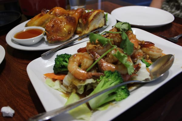 80 - Thai BBQ Chicken & #71 - Garlic Pepper Shrimp | Yelp