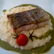 arctic char on a bed of risotto surrounded with pesto