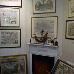 All sorts of things visible in this snap: seventeenth century county maps and world map, London in the 1830s, David Roberts with