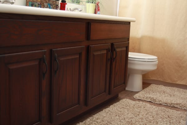 Cabinet refinishing; light oak to dark stain | Yelp
