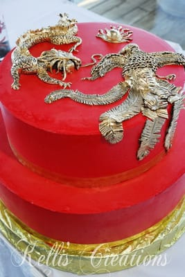 Jenn 39 S Wedding Cake With Modeling Chocolate Phoenix And Dragon Yelp
