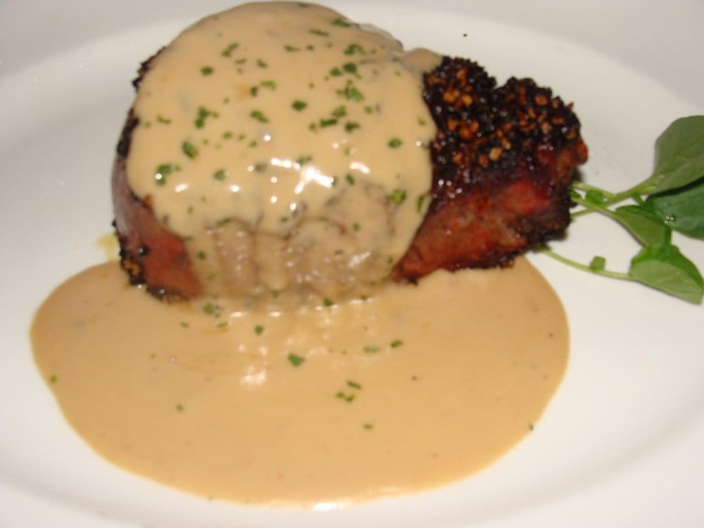 ... Filet Au Poivre (Peppercorn Crusted with Brandy Cream Sauce) | Yelp
