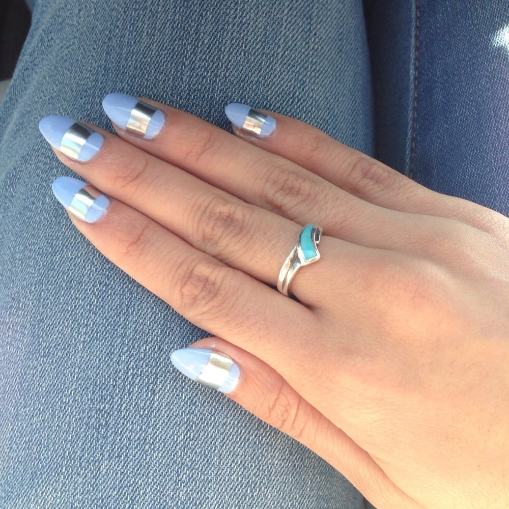 Vanny did a great job! Pale blue w/ a strip of metallic on almond ...