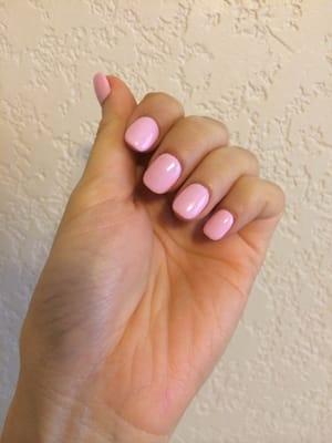 gelish 8 polish atop thin acrylic nails short rounded