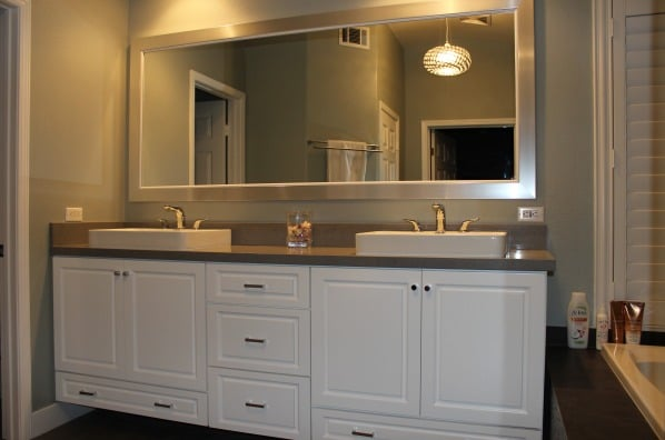 Custom Double Sink Vanity Whits Cabinets Pendents Lighting Big White Fram