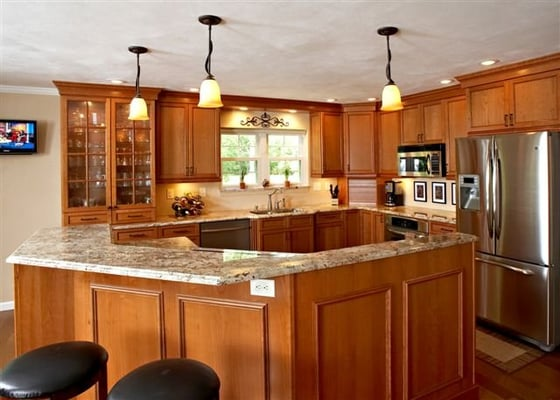 new kitchen remodel with cherry cabinets and granite
