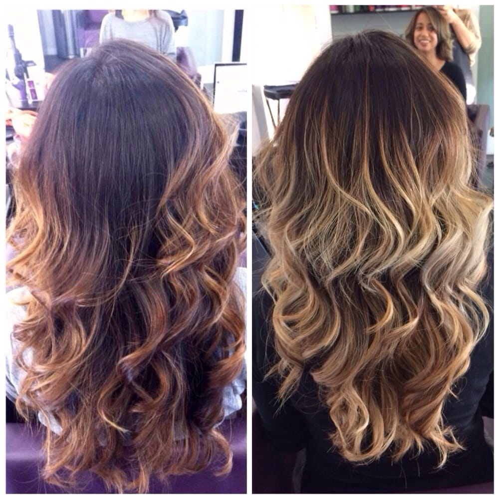Styled by Laura; before and after; cut and color; balayage to an ombre ...