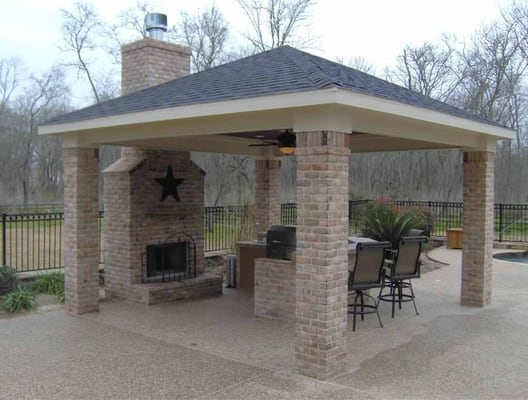 Outdoor fireplace covered patio we 39 ll design the perfect for Detached covered patio plans