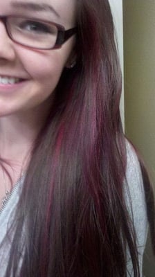 Red Violet Hair with Highlights