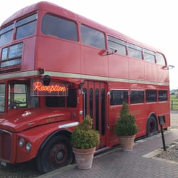 Reception is in an old Double Decker London Bus!