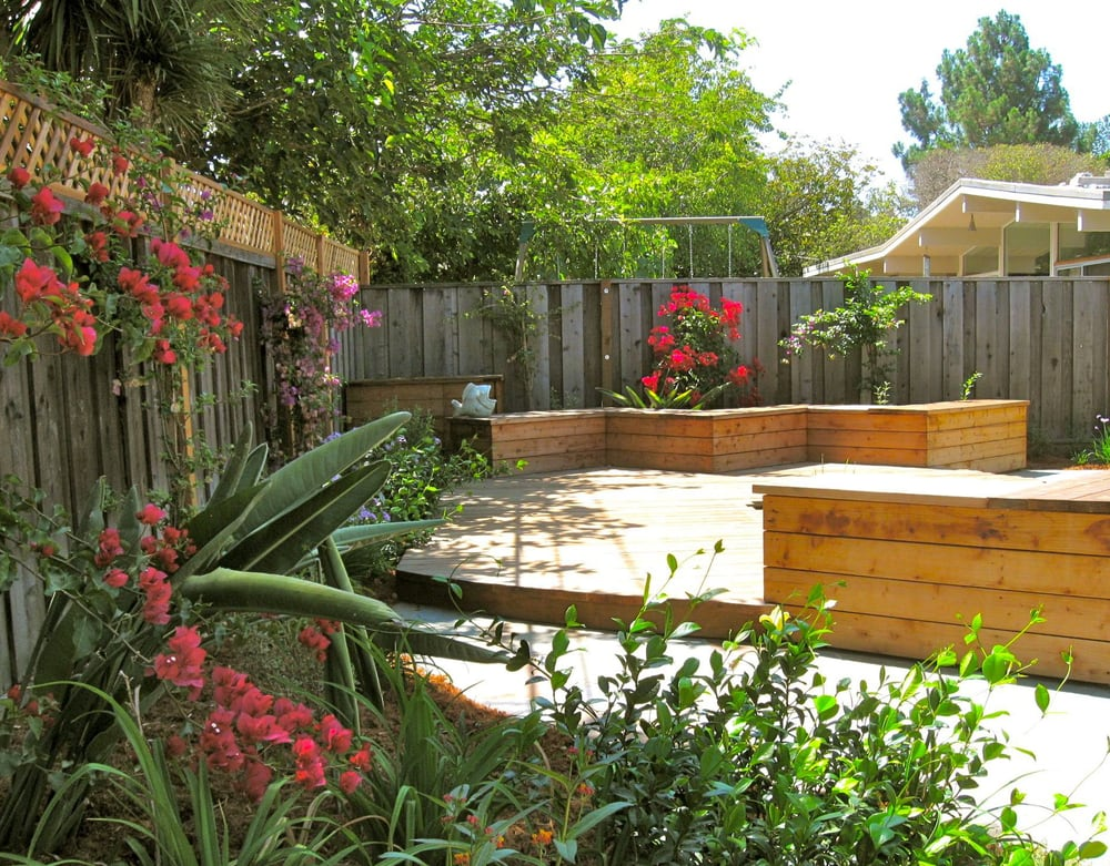 Koi pond and deck with color feature in a cupertino for Koi pond deck
