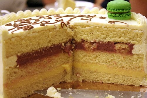 interior of buttercream birthday cake with raspberry & lemon filling ...