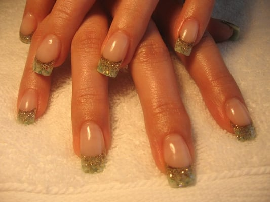 Beautiful green acrylic with sea shells, confetti and glitter