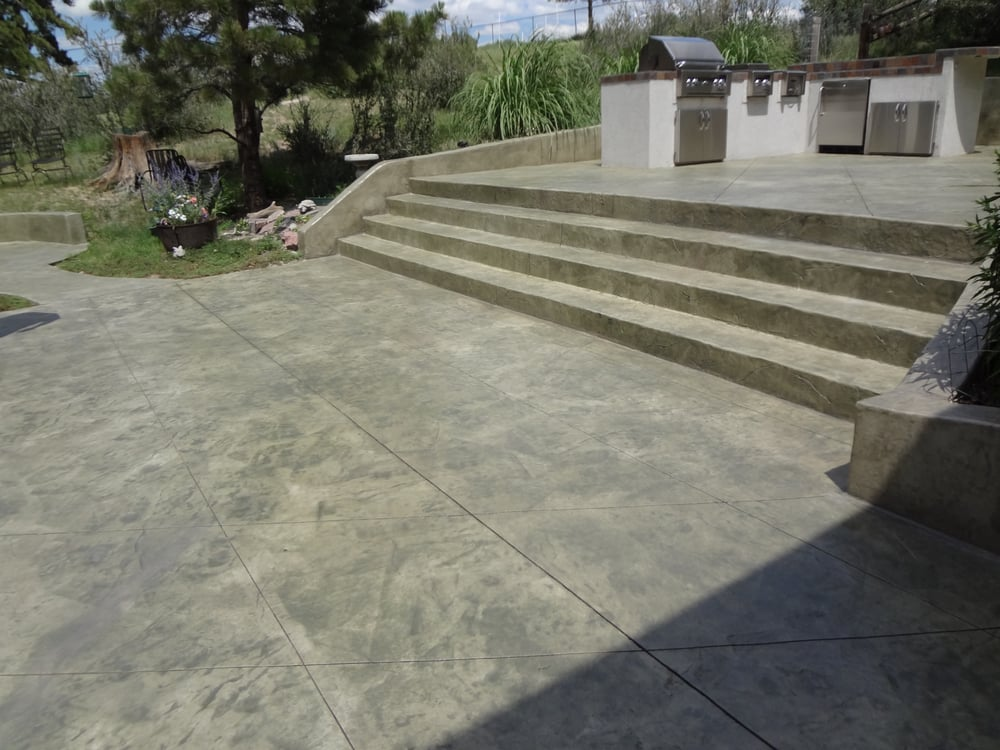 Stamped And Stained Concrete : Decorative stamped and stained concrete steps patio yelp