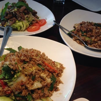 Spicy steak salad pad see ewe with beef and ka pow fried for Ayara thai cuisine menu