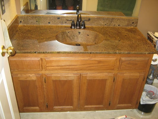Bathroom Counter Top Sink Combo Put The Stone Right Over The Existing Counter And Sink Yelp