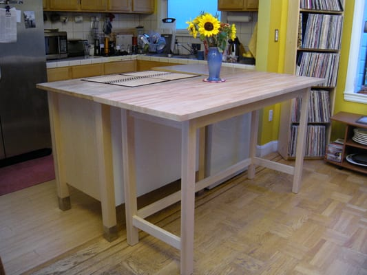 Ikea Fyndig Unterschrank Für Backofen ~ KItchen island was extended by me building a table to match existing