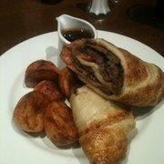 Roast Beef Yorkshire Pudding Roll with Roasties & Gravy. Probably the best spent fiver of the year!