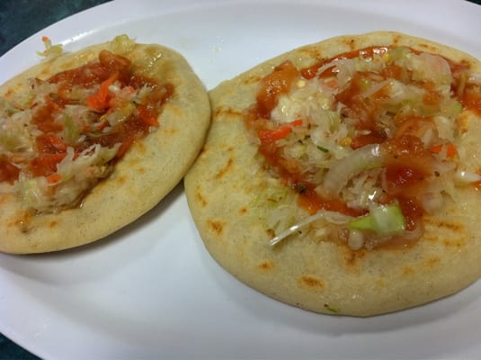 My pupusas with curtido and salsa | Yelp