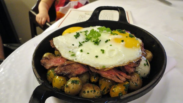 Steak and Eggs Skillet - Grilled Skirt Steak, Baby Onions, Potato Hash ...