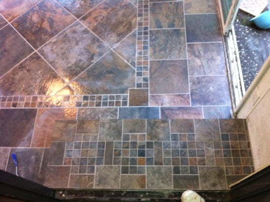 Hallway and stairs on pinterest slate tiles google and for Slate floor patterns