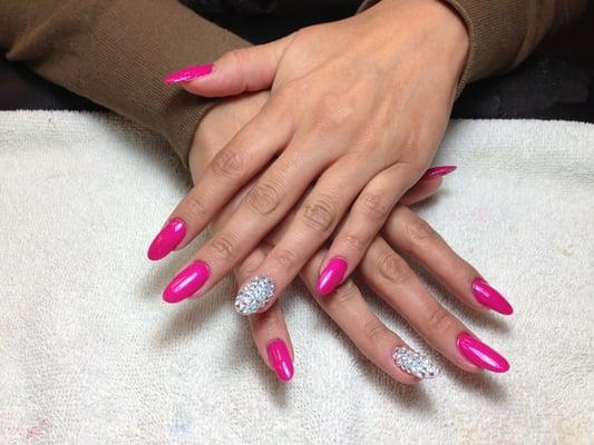 ... swarvoski crystals. 2 finger nail design for $10 (long nail) !! | Yelp
