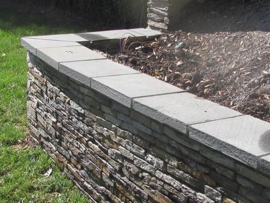 Stone Wall Veneer Blue Stone Caps Los Angeles Masonry