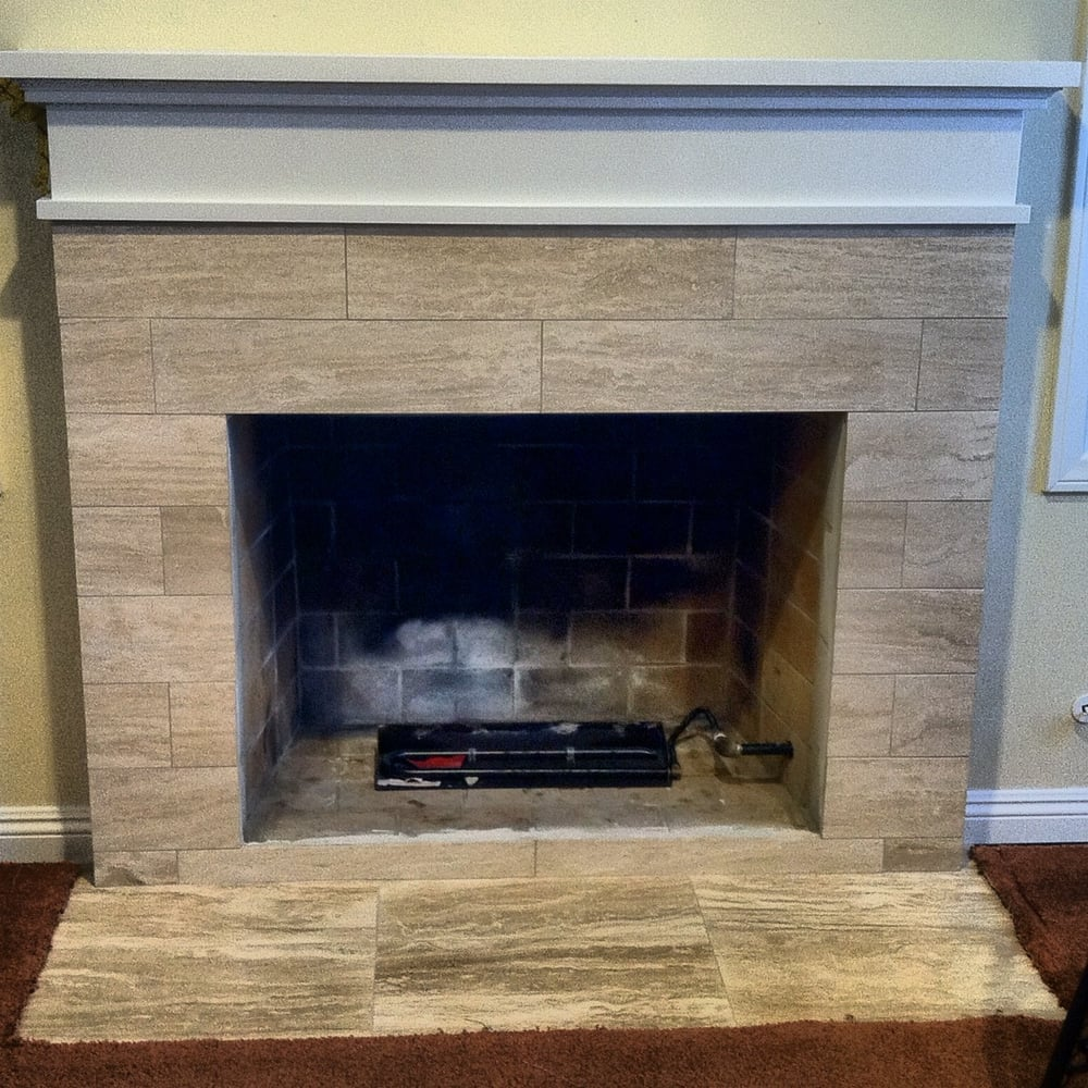 Custom fireplace mantle and travertine tile yelp - Fireplace tile design ideas on the mantel and hearth ...