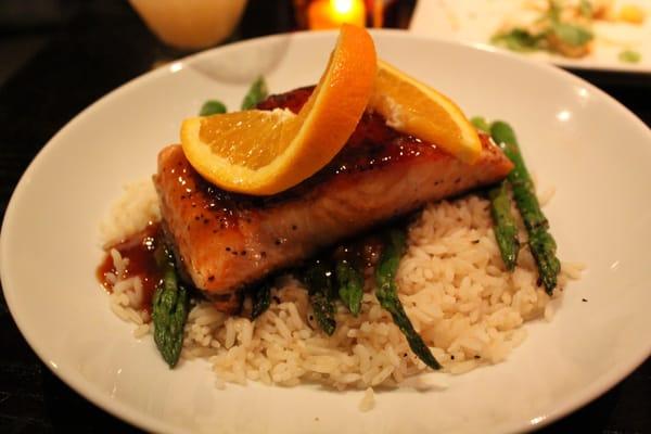 Salmon-Orange, maple, soy glaze, grilled asparagus, basmati rice ...