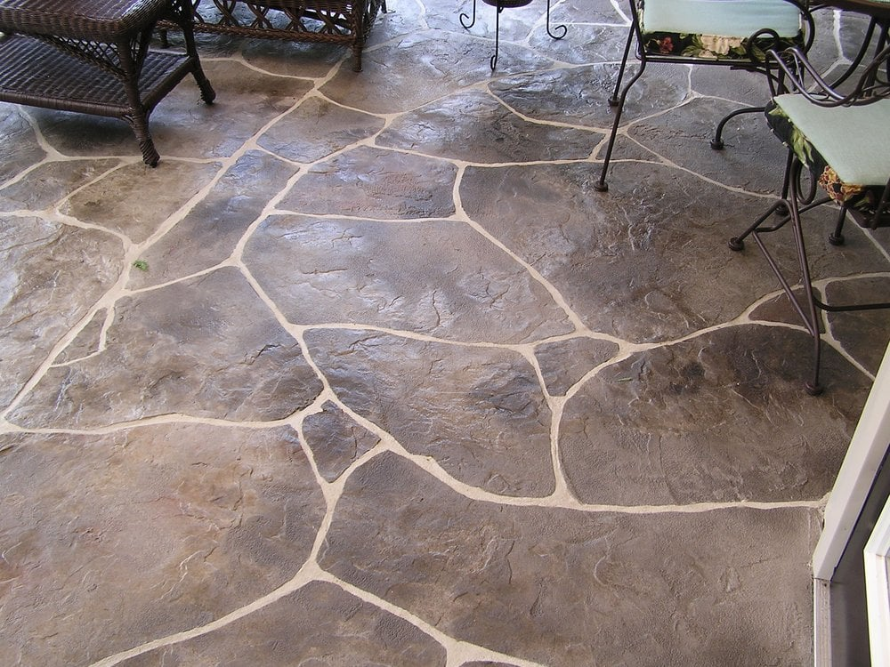 Stamped Concrete Overlay Hand Carved Flagstone Patio Yelp