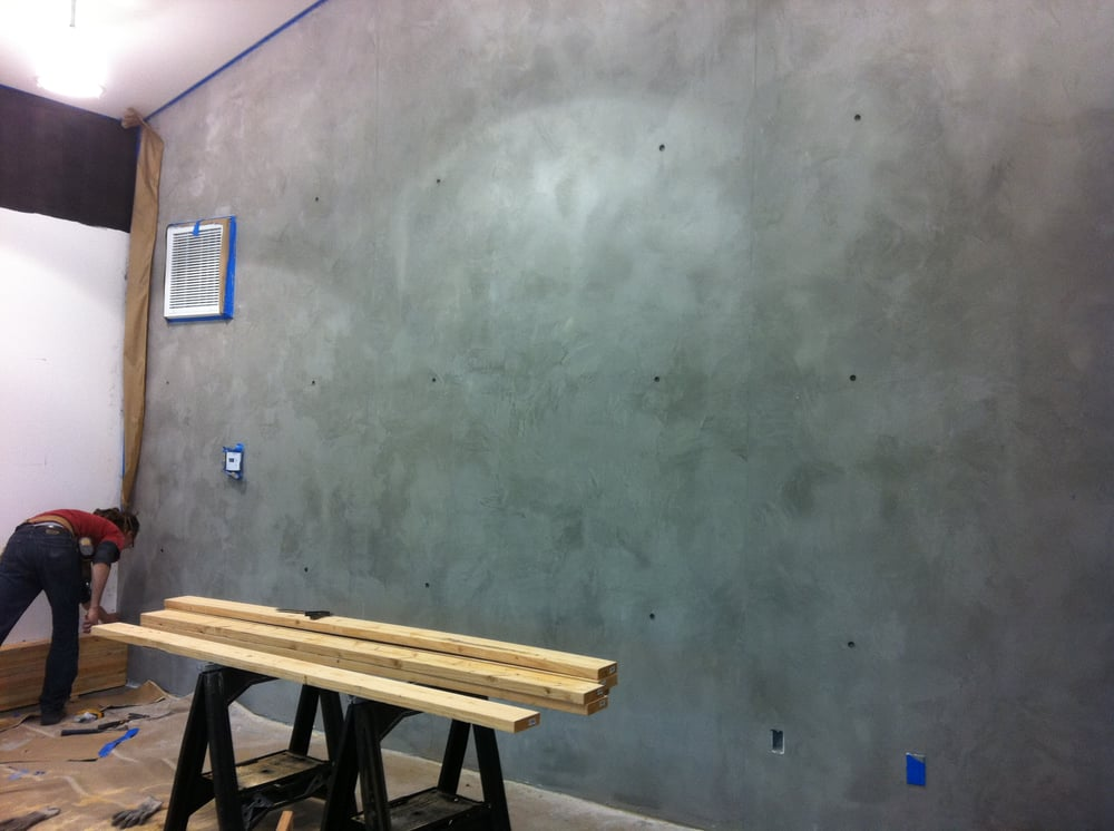 Concrete wall finish directly over drywall very thin How to finish a concrete wall