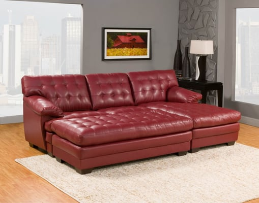 Super comfortable chaise sectional in bonded red leather for Super comfortable sectional sofa