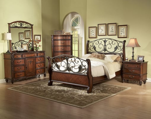 metal wood sleigh bed room set queen or king size