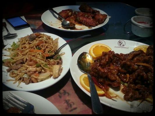 Peking chicken wings, orange beef (deep fried), and house chow mein ...
