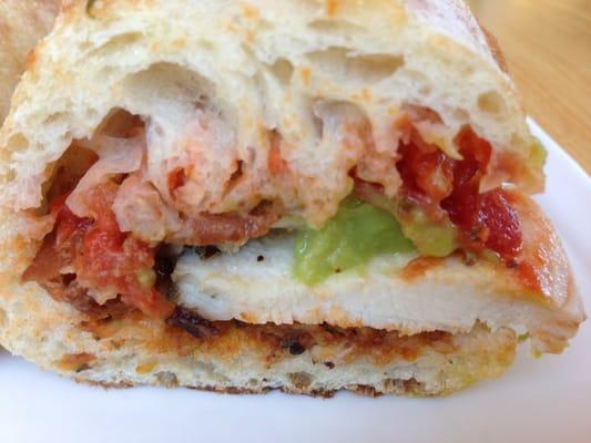 pesto sandwich- chicken, bacon, avocado, fresh mozzarella, sun dried ...